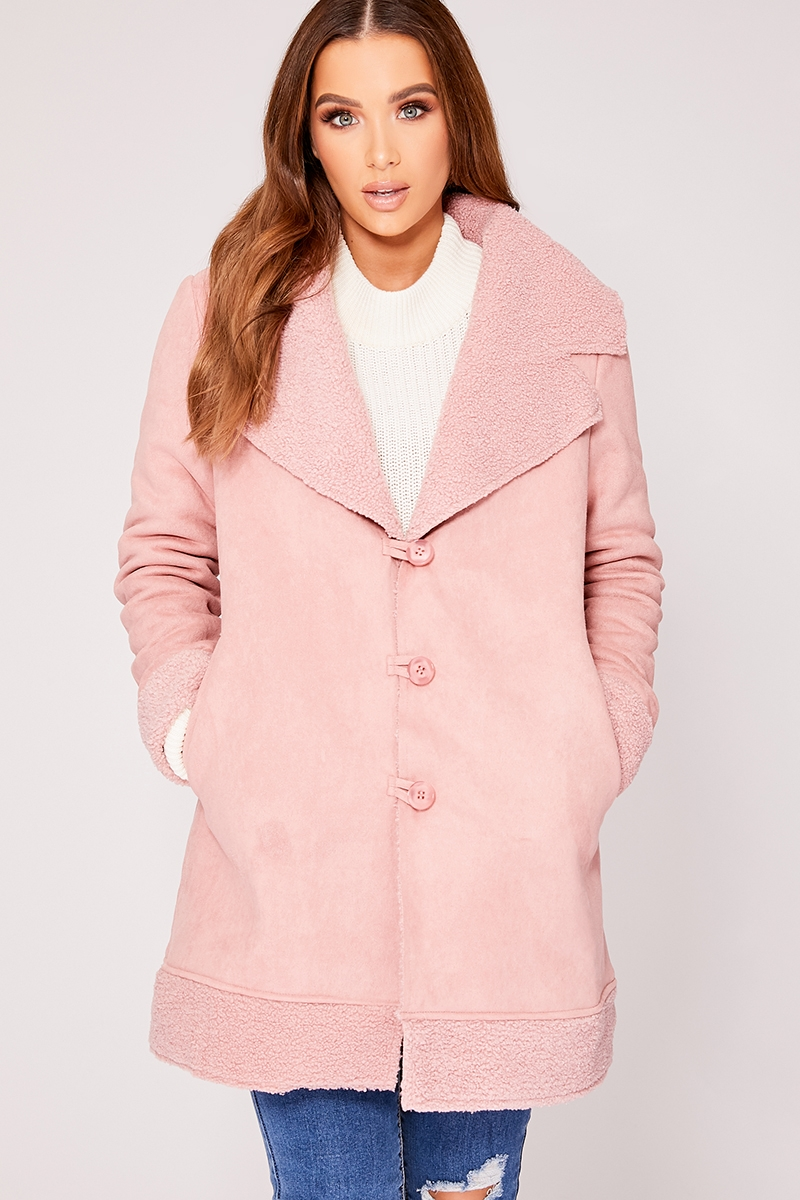 Denise Rose Faux Suede Shearling Lined Jacket  e0dfdf7ce9462