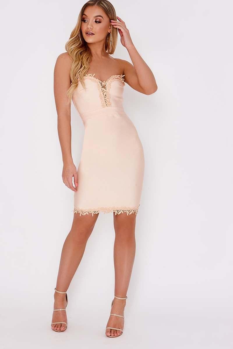 Kalani Nude Crochet Trim Bodycon Bandage Dress In The