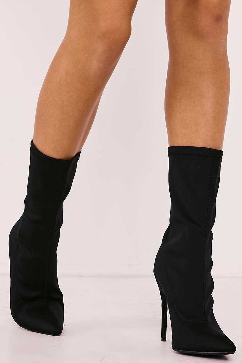 Roanna Black Lycra Sock Heeled Boots